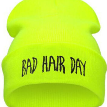 Winter Beanie Womens & Mens Bad Hair Day Knitted Black & Yellow Cuffed Skully Hat