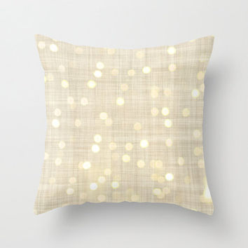 Gold Bokeh Home Decor Throw Pillow Cover Burlap and Linen Style Decorative Pillow Cover Gold and Cream Bokeh Decor