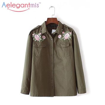 Autumn Flower Floral Embroidery Shirt Designs Blouse Women Cotton Military Army Green Shirt Long sleeve Button Pocket Jackets