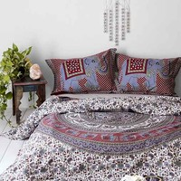 Magical Thinking Grey Elephant Stamp Duvet Cover- Grey Full/queen
