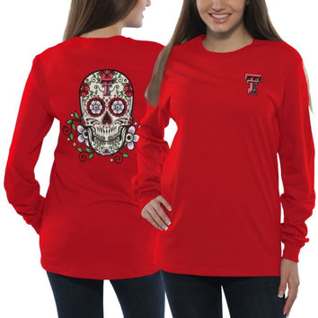 Texas Tech Red Raiders Women's Sugar Skull Long Sleeve T-Shirt - Red