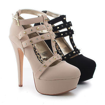 Lawless Black By Dollhouse, Almond Toe T-Strap Studded Ankle Buckle Platform Stiletto Heels
