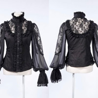 RQBL Gothic Blouse black Shirt Upper Part Women's Top Steampunk victorian Lace