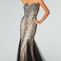 Strapless Beaded Evening Gown by JVN by Jovani