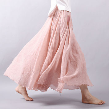 2016 Summer Skirt Pleated Elastic Waist A-line Cotton Linen Long Skirt For Women Maxi Skirts Beach long saia