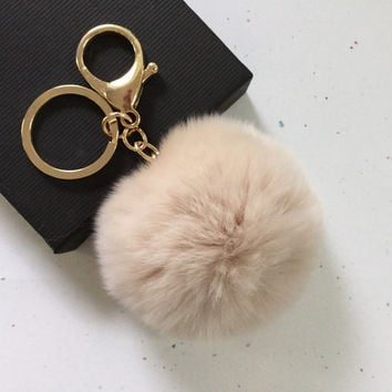 New! Cream Fur pom pom keychain fur ball bag pendant charm