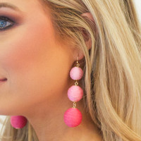 Ombre Pink Hanging Ball Baubal Bar Earring