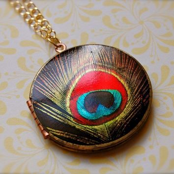 The Red Peacock Feather Locket  Vintage by verabel on Etsy