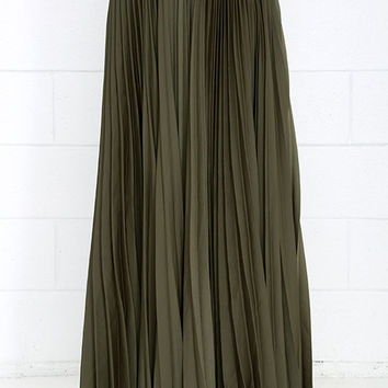 Deets in the Pleats Maxi Skirt - Olive