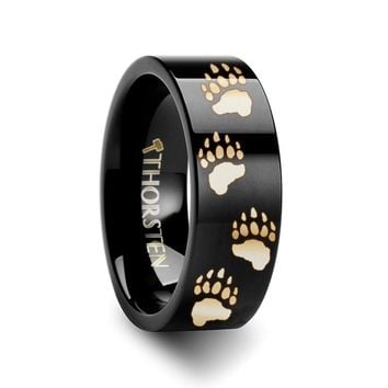 Bear Paw Tracks Engraved Black Tungsten Ring