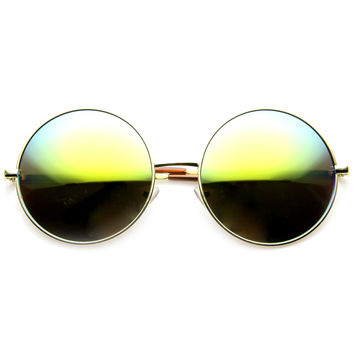 Women's Retro Metal Oversize Mirror Lens Sunglasses 9752