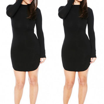 Fashion Long Sleeve Club Tee Stylish Slim One Piece Dress = 5858610689