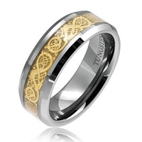 Bling Jewelry Tungsten 8 mm Comfort Fit Flat Wedding Band Ring Celtic Dragon Gold Inlay