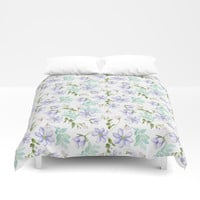 purple spring flowers Duvet Cover by sylviacookphotography