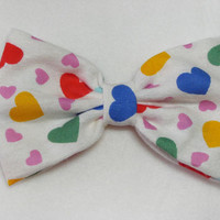 Rainbow Hearts Bow Hair Clip - fabric bow colorful bow birthday party bow hearts bow rainbow bow colorful bow big hair bow