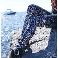 SILVER Rainbow Mermaid Leggings - Metallic Womens Legging - Silver BLACK Legwear Steampunk Tights -  SMALL