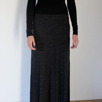 Simple Blended Dark Grey Maxi Skirt