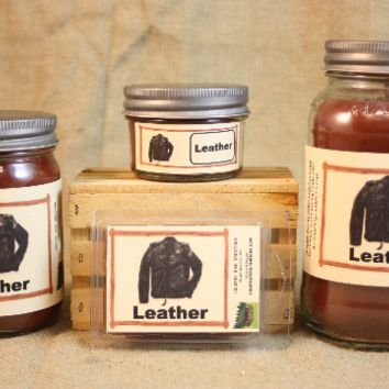 Leather Scented Candle, Leather Scented Wax Tarts, 26 oz, 12 oz, 4 oz Jar Candles or 3.5 Clam Shell Wax Melts