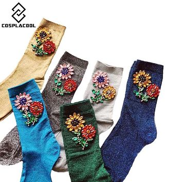 [COSPLACOOL]2017 Arrived Korean Style Winter Warm Women Funny SocksGem Sun Flower Meias Candy Color Hand-made Socks Calcetines