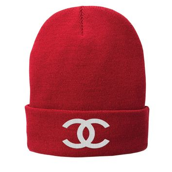 Chanel Beanie Chanel Hat Embroidered Fleece-Lined Knit Cap
