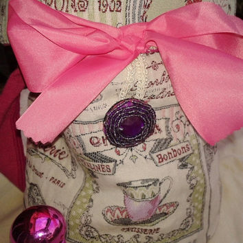 ON SALE Paris Cupcakes Handbag - Handmade - Pink Bow Ribbon - French Scriptures- Padded Purse -Tea Cup, Pastry, Bonbon - Purple Beads Button