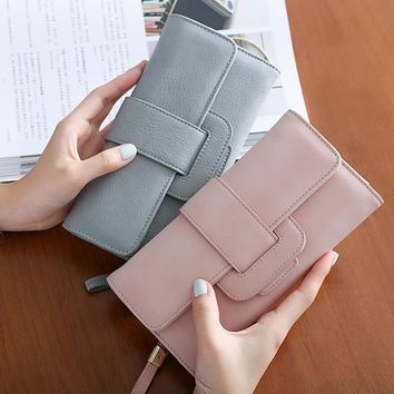 2018 High Quality Brand Casual Solid Long Women Purses PU Leather Hasp Coin Card Holder Soft Female Wallet Credit Cards Handbag