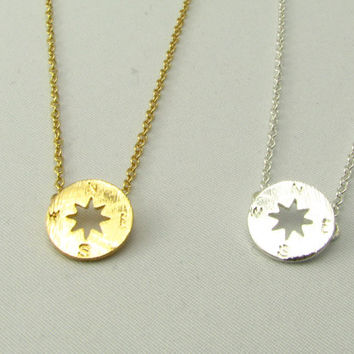 Gold or Silver Compass Rose Necklace / Simple Everyday Necklace / Gold or Silver Necklaces
