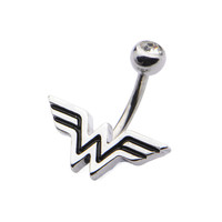 Wonder Woman Fixed Logo Charm with Clear CZ Navel Ring