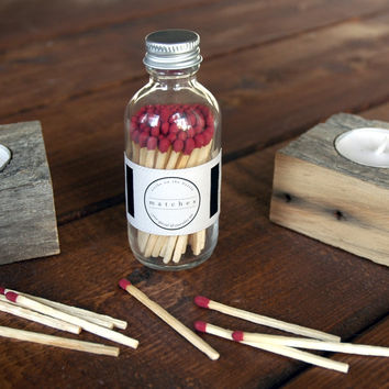 Red Round Bottle Matches - Strike on Bottle - Red Match Jar - Pair with a Candle - Home Decor - Fancy Jar Matches - Light a Pretty Spark