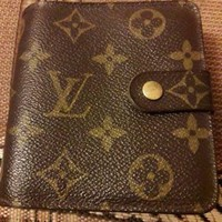 LOUIS VUITTON PARIS Brown Womens Wallet Purse Real Leather Made In Spain