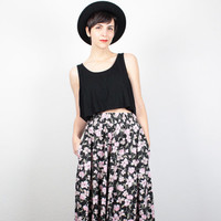 Vintage Midi Skirt 1980s Skirt Black Pink Floral Print Skirt High Waisted Skirt 80s Skirt Tea Length Skirt Pockets Hipster Skirt S Small M