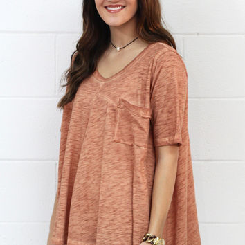 Mineral Washed Pocket Top {Terracotta} Extended Sizes