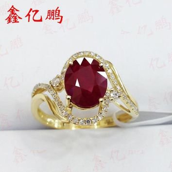 Xin yi peng 18 k yellow gold inlaid 2.1 carat natural ruby ring, woman ring with diamonds, engagement to marry