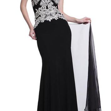 PRIMA 17-20212 Black Embroidered High Neck Prom Dress Evening Gown