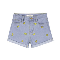 Banana Embroidered Denim Cuffed Shorts | MIXXMIX