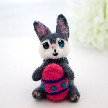 Easter bunny, Needle felted miniature rabbit bunny, Easter gift, Bunny art, Grey and white, Natural toy