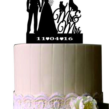 police officer and bride wedding cake topper with cat and dog - Unique Rustic Wedding Cake Topper -  Custom Silhouette Weddin Cake Topper
