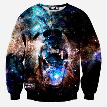Roaring Bear Space Galaxy Crew Neck Sweatshirt Men & Women Harajuku Style All Over Print Blue & Brown Sweater