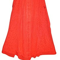 Bohemian Maxi Long Skirt Sexy Red Embroidered Gypsy Boho Chic Hippie Skirts S/M: Amazon.ca: Clothing & Accessories