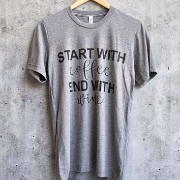 distracted - start with coffee end with wine unisex graphic tee - grey/black