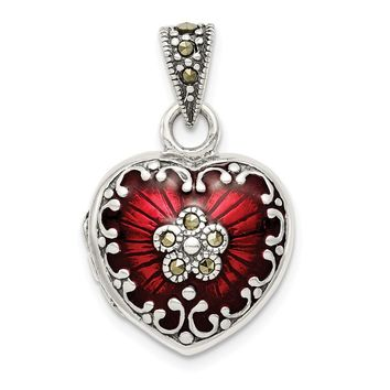 Sterling Silver, Red Enamel and Marcasite Antiqued Heart Locket, 16mm