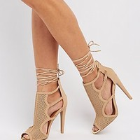 QUPID PERFORATED LACE-UP DRESS SANDALS
