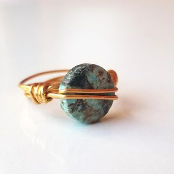 Thrive African Turquoise Wire Wrapped Coin Ring