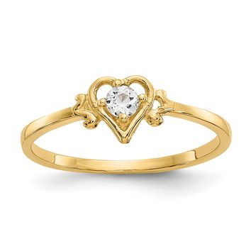 14k Yellow Gold Genuine Aquamarine March Birthstone Heart Ring