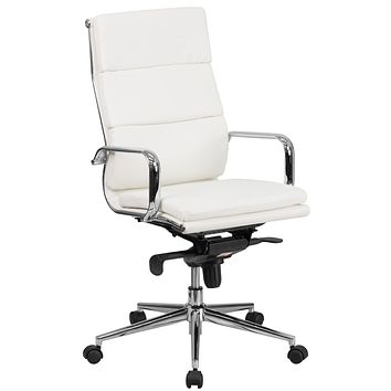 High Back Leather Executive Swivel Office Chair with Synchro-Tilt Mechanism