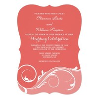 Coral Floral Swirl Bracket Wedding Invites