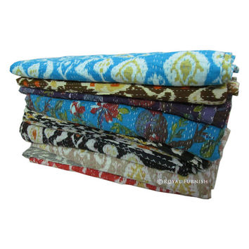Set of 5 Pieces - Queen Kantha Quilt, Kantha Bedspread, IKat duvet, Ikat Quilts, Kantha Blanket, Kantha Duvet Bed Cover,