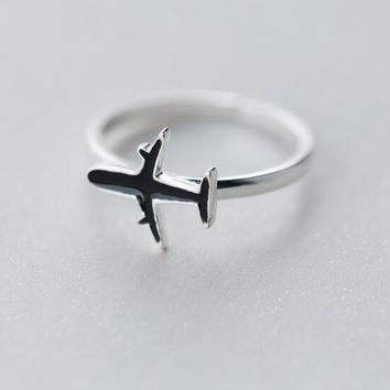 Real. 925-Sterling-Silver Black Enamel Aircraft Airplane Plane Ring jewelry adjustable GTLJ1175