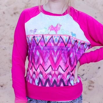Tribal pink dog sweatshirt