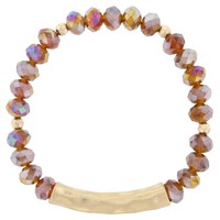 Beaded Hammered Bracelet- Topaz